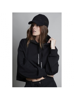 Sudadera Crop SPACE FLAMINGO color NEGRO
