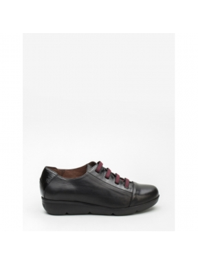 Zapatos WONDERS NEGROS elásticos VINO