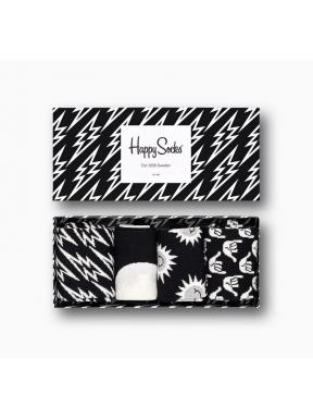 HAPPY SOCKS 4 Pack Black and White 36/40