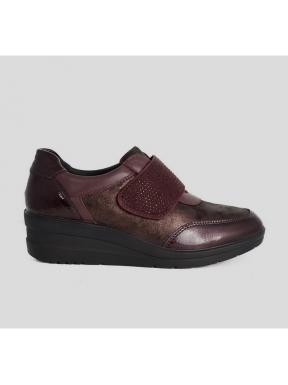 Zapato IMAC Cuña Velcro Combi BURDEOS
