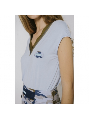 Camiseta POUPÉE CHIC Camuflaje AZUL