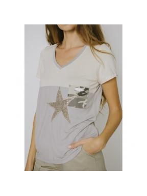 Camiseta POUPÉE CHIC Estrella Camu KAKI