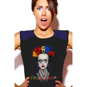 Camiseta LaSAL Frida Heroines NEGRO
