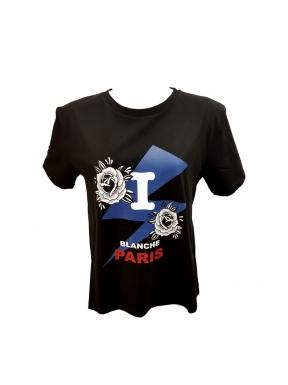 Camiseta ISABELLE BLANCHE Rosas NEGRO