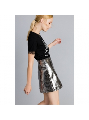 Minifalda TWINSET Fake Leather PLATA