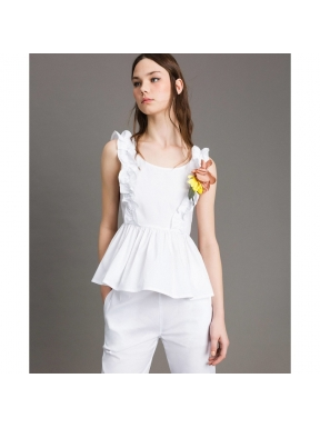 Top TWINSET Popelina Ruches BLANCO