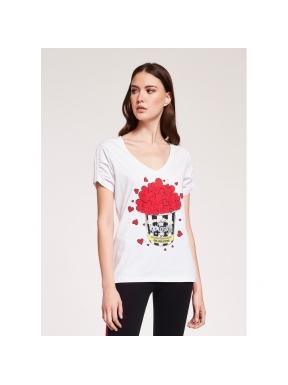 Camiseta GAUDÌ Corazones PopCorn BLANCA