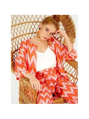Kimono VILAGALLO Print Zigzag NARANJA