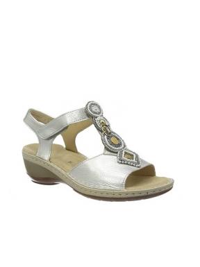 Sandalia Velcro ARA Abalorios Piel PLATA