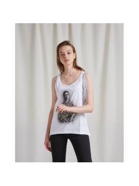 Camiseta Flecos BSB Frida Kahlo BLANCO