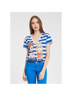 Camiseta GAUDÌ Rayas AZULES  y BLANCAS